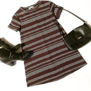 Zara Chevron Patterned Short Sleeve Tent Dress